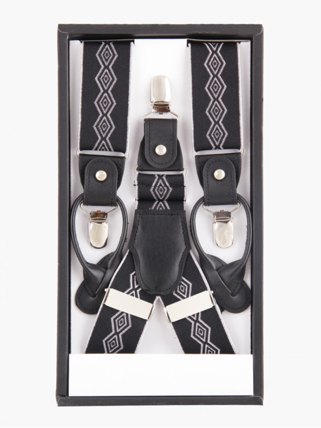 Rhombo White and Black Suspender