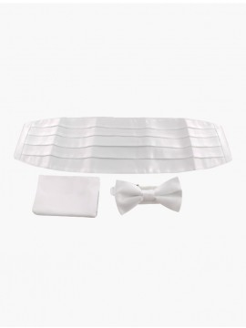 Signature Sterling White Cummerbund, Pocket Square and Bow Tie