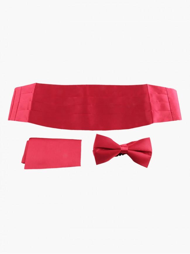 Signature Maroon Red Cummerbund, Bow Tie and Pocket Square Set